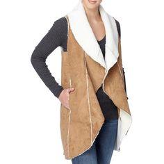 Women's Catherine Catherine Malandrino Leonide Faux Shearling Vest ($77) ❤ liked on Polyvore featuring outerwear, vests, khaki, long vests, long waistcoat, beige vest, drape front vest and catherine catherine malandrino