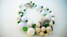 Green White Bead Bracelet St. Patrick's Day Double by mscenna
