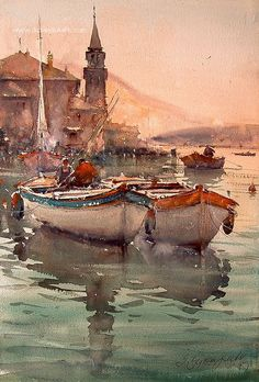 Watercolor, Perast Sunset -- This appears very different to me since I just watched the new Assassins Creed trailer
