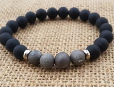 Geode Quartz Drusy Druzy Metallic Silvery Grey Bracelet Matte Black Onyx Men Bracelet Men's Beaded Bracelet Stretch Beaded Geode Bracelet (18.60 USD) by BohemianChicbead