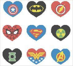 BOGO FREE Superheroes Marvel HEARTS Logo by Rainbowstitchcross