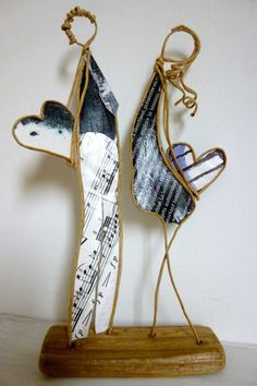 Heureuse Saint-Valentin ! - figurines en ficelle de kraft armé et papiers originaux