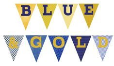 Over The Big Moon Blue & Gold Printable Pack Gold Banner, Diy Banner, Pennant Banners, Gold Letters, Bunting, Tiger Scouts, Cub Scouts, Cub Scout Blue And Gold Centerpieces, Printable Banner