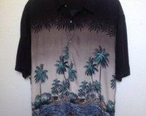 Vintage Large Aloha Hawaiian Shirt,  tropical print palm trees, yacht rock shirt, vaporwave shirt, oversized tropical blouse, tiki party