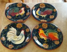 SUSAN WINGET SUNRISE handpainted Dinner Plates Rooster Sunflowers set of 4 #CertifiedInternationalCorp