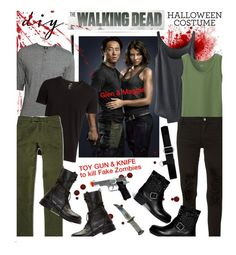 """""""DIY Halloween Costume #Thewalkingdead"""" by edenslove ❤ liked on Polyvore featuring Morgan, H&M, Helmut Lang, Uniqlo, Aries, Ralph Lauren, Valentino, thewalkingdead, TWD and GLENANDMAGGIE"""