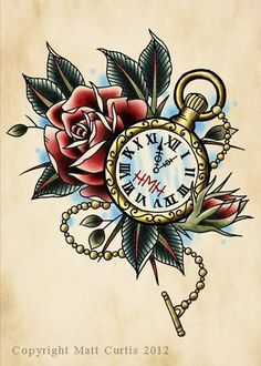 more pocket watches rose tattoos clock tattoos google watch tattoos ...