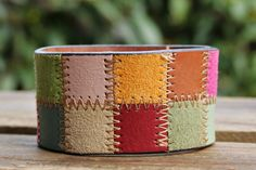 CUSTOM HANDSTAMPED multi color leather cuff by mothercuffer on Etsy