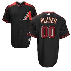 Men's Arizona Diamondbacks Majestic Black/Brick Cool Base Custom Jersey