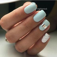 light blue acrylic nails with silver and marble