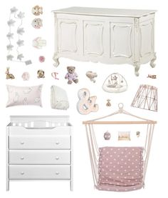 """""""Romantic Baby Girl Nursery"""" by belenloperfido ❤ liked on Polyvore featuring interior, interiors, interior design, home, home decor, interior decorating, Bloomingville, Home Essentials, David Jones and ferm LIVING"""