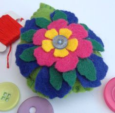 This item is unavailable Shades Of Green, Blue Green, Yellow, True Colors, Colours, Felt Pincushions, Blanket Stitch, Sewing Tools, Sewing Accessories