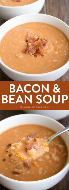 This Bacon and Bean Soup is sure to make it into your fall recipe arsenal. Easy to make and full of flavor, this recipe is always a crowd pleaser! Fall Recipes, Soup Recipes, Cooking Recipes, Healthy Recipes, Chili Recipes, Healthy Food, Paleo Chili, Vitamix Recipes, Bacon Recipes