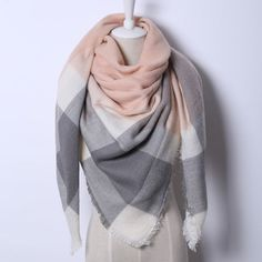 Cashmere Triangle Pink Scarf  - ***2016 LIMITED EDITION*** (Color: Triangle Pink Gray) | Save upto 60% with us |  Visit our website now  uniquefashionusa.com