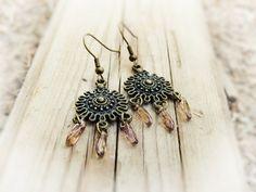 Tribal shield earrings Teardrop chandeli Indian by CallOfEarth, $32.00