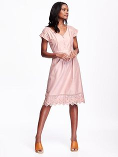 Good spring color and perfect length for work! On sale today for $30 @ Old Navy. Woven Cutwork Midi Dress