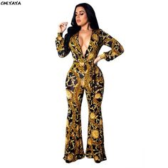 Women new paisley vintage print deep v-neck long sleeve high waist belt straight long pants jumpsuit sexy romper Church Outfits, Church Clothes, Printed Jumpsuit, Rompers Women, Long Pants, Vintage Prints, Paisley, High Waist, Clothes For Women