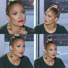 Jennifer Lopez - makeup on American Idol. Bold pink lips, soft brown eyes, glowy skin.