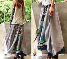 Nepalese sari cotton chiffon maxi skirt Q1106 by idea2lifestyle