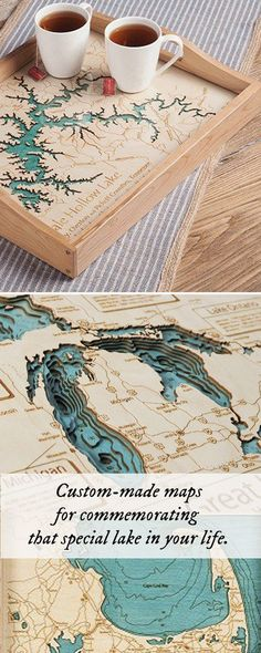 Personalized wooden lake maps.