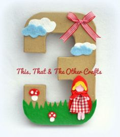 Little Red Riding Hood Party/Birthday Number. This would be cute solid red/red glitter as decor. Also, a big M.