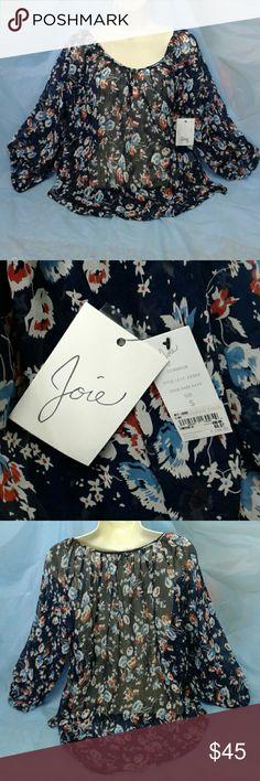 "JOIE  ""CORBELLE"" BOHEMIAN 100% SILK PEASANT TOP FLORAL PRINT, 3/4 SLEEVES, MULTI COLORED JOIE Tops Blouses"