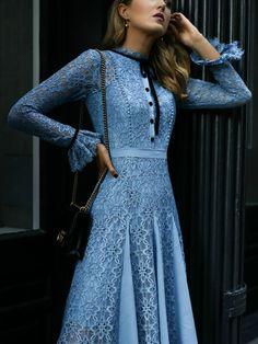 Baby Blue Lace // Blue lace dress, black ankle strap bow heels, black crossbody handbag {Alexandre Birman, Gucci, baby shower, weekend wear}