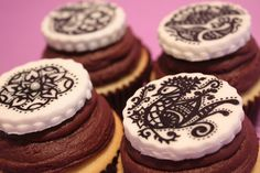 henna/mehendi cupcakes--yummy chocolate, perhaps this would be yummy with a decorate oreo on the top instead.