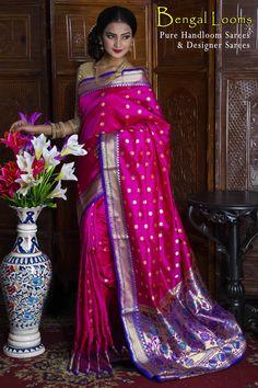 Beautiful Magenta and Purple Paithani Silk Saree With a gorgeous Pallu