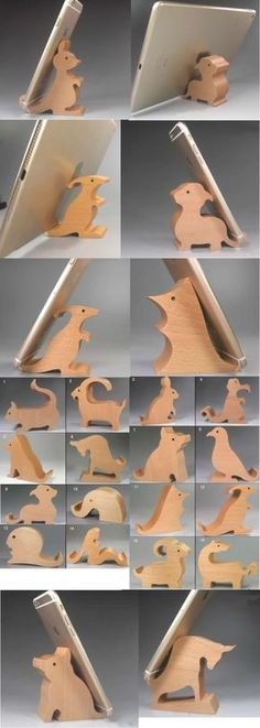 Desk Phone Holder - DIY Phone Stand Funny Natural Wooden Animal Figurine iPhone Cell Phone Stand Mount Holder Business Card Display Stand Holder Office Desk Organizer for iPhone 77 Plus and other smartphones Diy Phone Stand, Desk Phone Holder, Iphone Holder, Wooden Phone Holder, Wood Phone Stand, Wood Projects, Woodworking Projects, Projects To Try, Wood Crafts