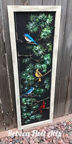 Long colorful birds porch decor wall decor handmade and hand painted original art screen art w Old Windows Painted, Painted Window Screens, Painting On Screens, Window Screen Crafts, Window Frames, Glass Block Windows, Glass Blocks, Glass Wall Art, Stained Glass Art