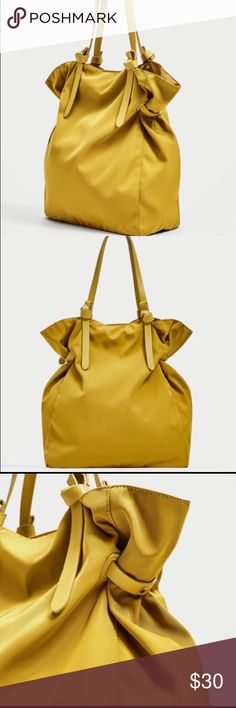 """ZARA MONOCHROME fabric yellow TOTE,NWT ZARA fabric tote mustard color.lined interior with pocket. handles.magnet fastening  height 15,7""""(40) x width 12,5""""(32cm) x depth 5,9""""(15cm) NWT Zara Bags Totes"""