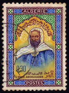 L'Emir Abdelkader or Abdelkader ibn Muhieddine or   Abd al-Qādir ibn Muḥyiddīn or Abdelkader El Djezairi ( 1808 –  1883).stamp printed in Algerie