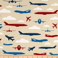 Boy Toys Airplanes Red - Robert Kaufman - by PlanetFabric on Craftumi