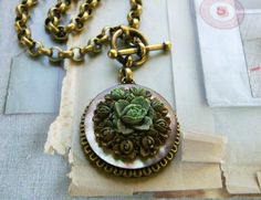 Carved Floral and MotherofPearl Pendant Necklace by veryDonna, $86.00