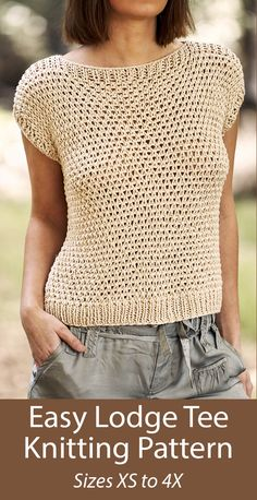 Knitting pattern for Easy Lodge Tee Top Sizes XS to Sweater Knitting Patterns, Knitting Designs, Hand Knitting, Knitting Ideas, Free Knitting Patterns Uk, Knitting Tutorials, Knitting Machine, Vintage Knitting, Stitch Patterns