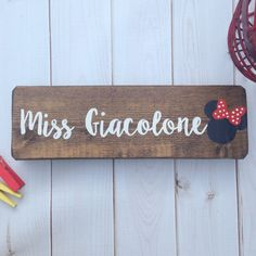 This minnie mouse sign is perfect for a Disney loving teacher! Disney Classroom, Classroom Signs, Classroom Decor, Painted Wood Signs, Wooden Signs, Teacher Name Signs, Disney Names, Teacher Appreciation Gifts, Door Signs
