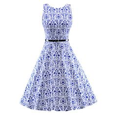 Sleeveless Knee-Length Dress in Blue and White - Dress Lily