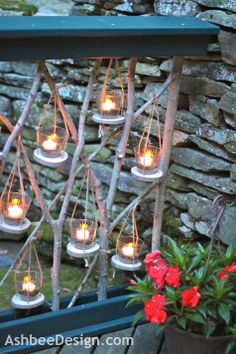Ashbee Design: DIY Mini Lanterns for Tea Lights ........ drill holes in tree slices, attack three twine ropes