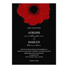 Modern Poppy Wedding Invitations (Red/Black)