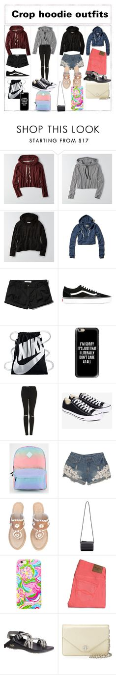 """I love crop hoodies"" by sarahs2734 ❤ liked on Polyvore featuring American Eagle Outfitters, Hollister Co., Abercrombie & Fitch, Vans, NIKE, Casetify, Topshop, Converse, Jack Rogers and Building Block"