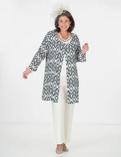 Box 2 black/cream crepe print round neck jacket, vest and trouser at Box 2