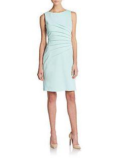 Ivanka Trump Ponte Sunburst Pleat Dress - Blue Bell - Size 10