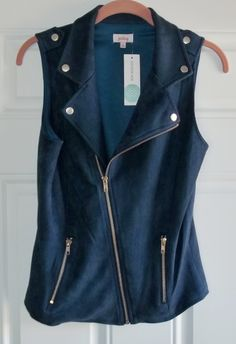 """April 2016 Stitch Fix. Pixley Bobet Faux Suede Vest. Incredibly soft Poly/Spandex blend with the perfect amount of stretch. Very flattering fit. Approx. 23"""" long.  https://www.stitchfix.com/referral/4292370"""