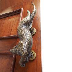 Otter Solid Brass Door Handle / Pull - Displayed on a door Brass Door Handles, Sand Casting, Door Pulls, Otters, Solid Brass, Antique Brass, Hand Carved, Carving, Sculpture