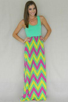 Summer Chevron Maxi Dress | Girly Girl Boutique
