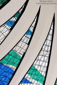Cathedral of Brasilia Interior Detail - #architecture #detail #brazil #brasilia #cathedral #interior #stainedglass