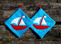 Sail Boat Pot Holder Set of 2 by marylandquilter on Etsy, $15.00