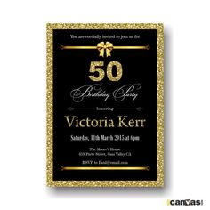 Bokeh Birthday Party Invitation Black, Gold Anniversary Printable. 30th 40th 60th 70th 80th 90th for all ages. Golden, Elegant, glitter #23