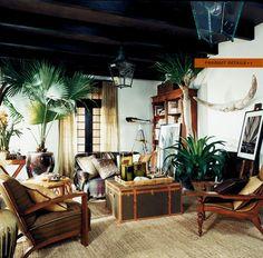 Tropical Living Room Dark Wood Salon Colonial Estilo Interior